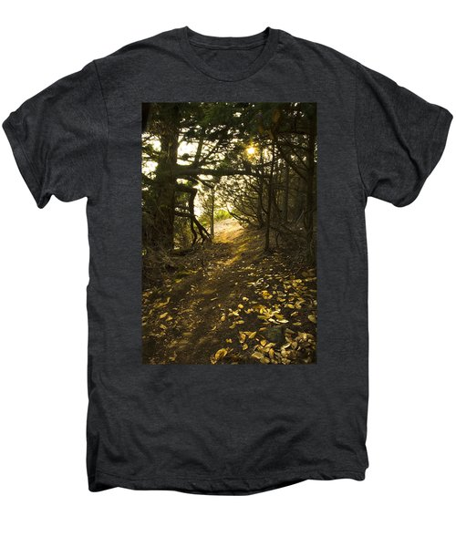 Men's Premium T-Shirt featuring the photograph Autumn Trail In Woods by Yulia Kazansky