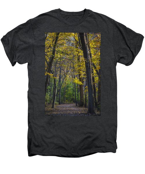 Men's Premium T-Shirt featuring the photograph Autumn Trees Alley by Sebastian Musial