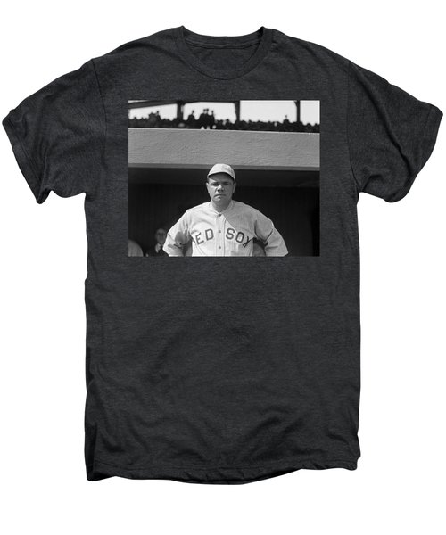 Babe Ruth In Red Sox Uniform Men's Premium T-Shirt by Underwood Archives