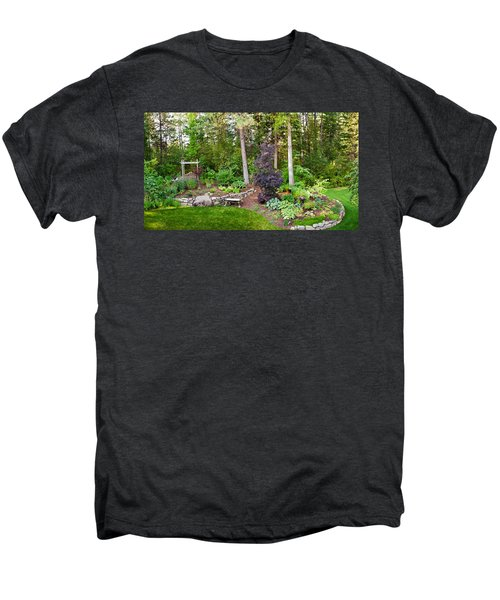 Backyard Garden In Loon Lake, Spokane Men's Premium T-Shirt by Panoramic Images