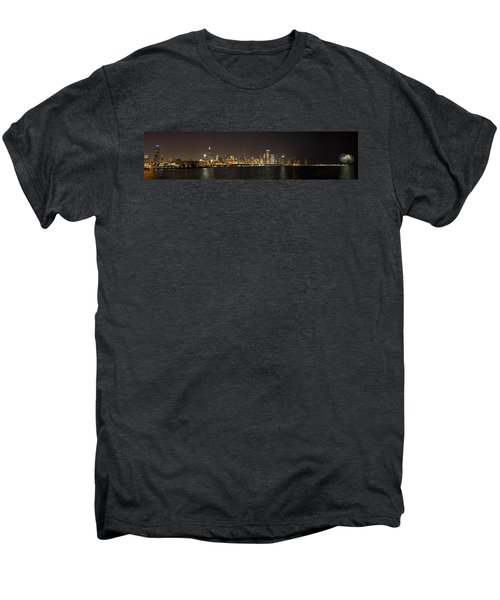 Beautiful Chicago Skyline With Fireworks Men's Premium T-Shirt by Adam Romanowicz