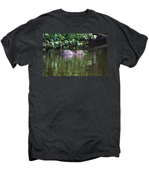 beaver swims in NC lake Men's Premium T-Shirt by Chris Flees