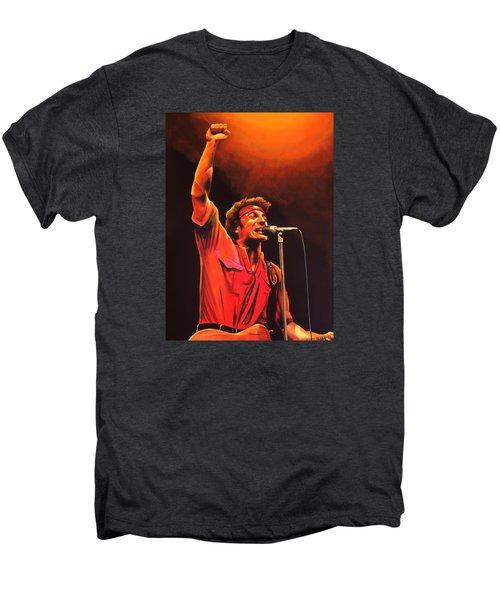 Bruce Springsteen Painting Men's Premium T-Shirt by Paul Meijering