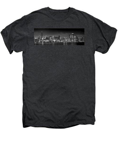 Chicago Skyline At Night Black And White Men's Premium T-Shirt by Jon Holiday