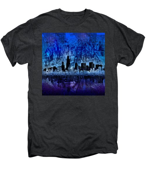 Chicago Skyline Blue Version Men's Premium T-Shirt
