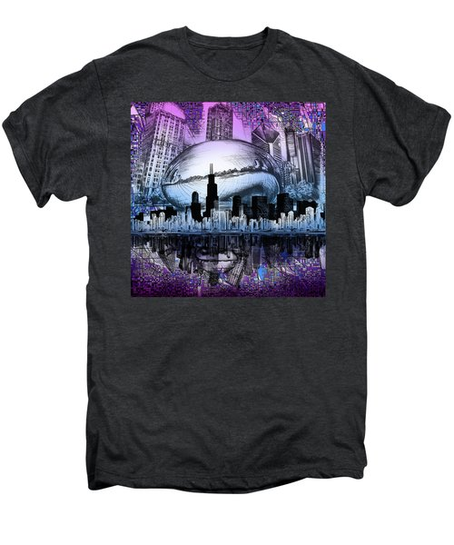 Chicago Skyline Drawing Collage 2 Men's Premium T-Shirt