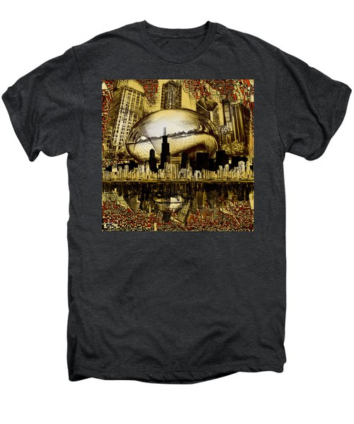 Chicago Skyline Drawing Collage 3 Men's Premium T-Shirt