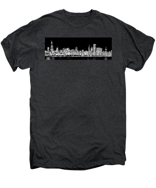 Chicago Skyline Fractal Black And White Men's Premium T-Shirt by Adam Romanowicz