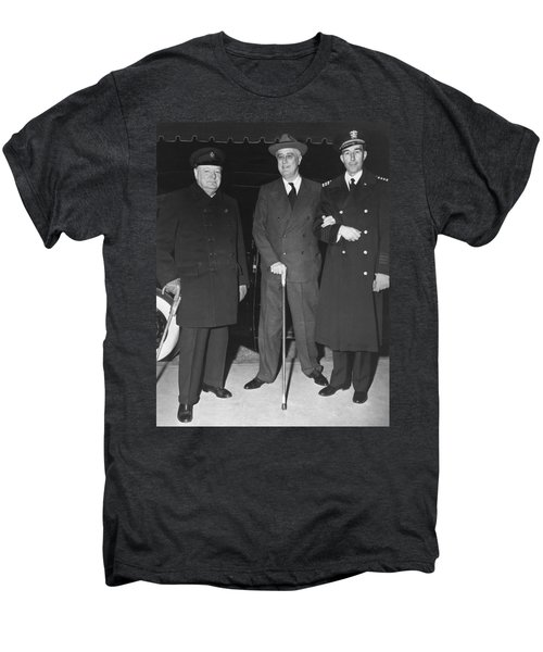 Churchill And Roosevelt Men's Premium T-Shirt by Underwood Archives