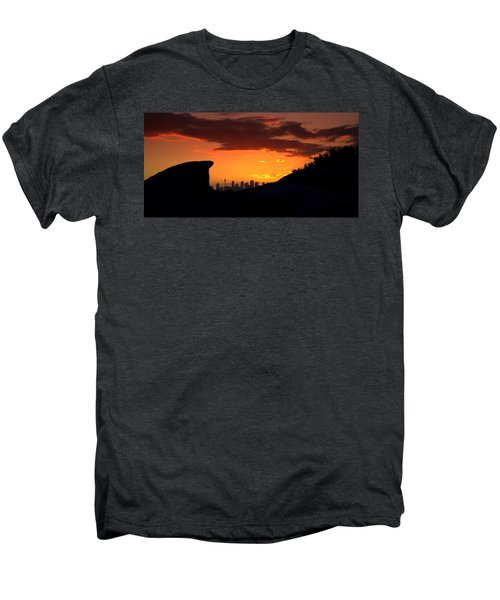 Men's Premium T-Shirt featuring the photograph City In A Palm Of Rock by Miroslava Jurcik