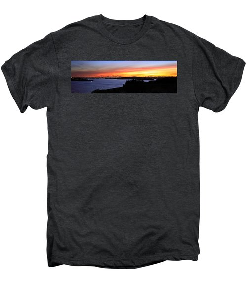 Men's Premium T-Shirt featuring the photograph City Lights In The Sunset by Miroslava Jurcik