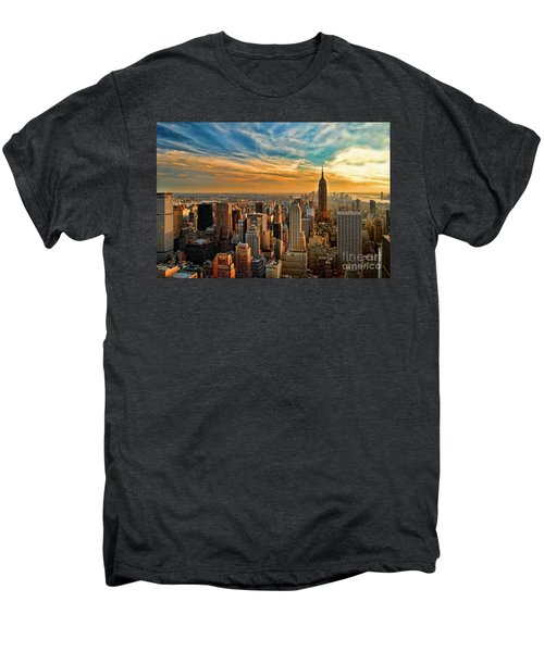 City Sunset New York City Usa Men's Premium T-Shirt by Sabine Jacobs