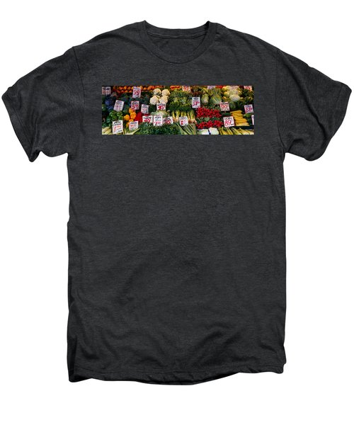 Close-up Of Pike Place Market, Seattle Men's Premium T-Shirt by Panoramic Images