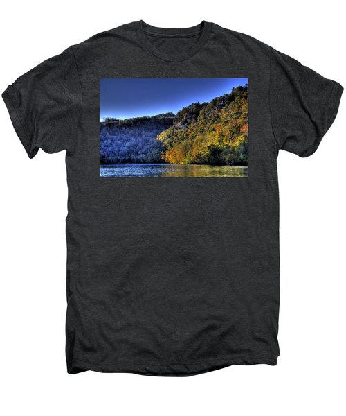 Men's Premium T-Shirt featuring the photograph Colorful Trees Over A Lake by Jonny D
