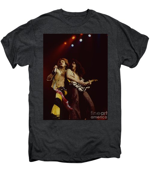 David Lee Roth And Eddie Van Halen - Van Halen- Oakland Coliseum 12-2-78   Men's Premium T-Shirt by Daniel Larsen
