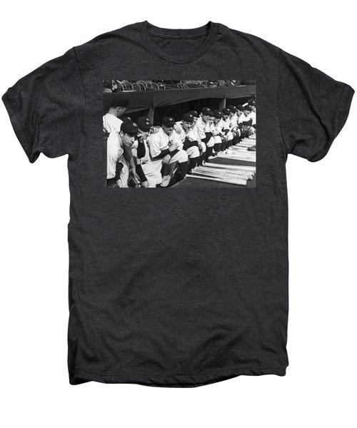Dimaggio In Yankee Dugout Men's Premium T-Shirt by Underwood Archives