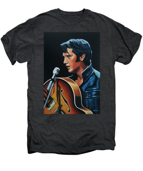 Elvis Presley 3 Painting Men's Premium T-Shirt by Paul Meijering