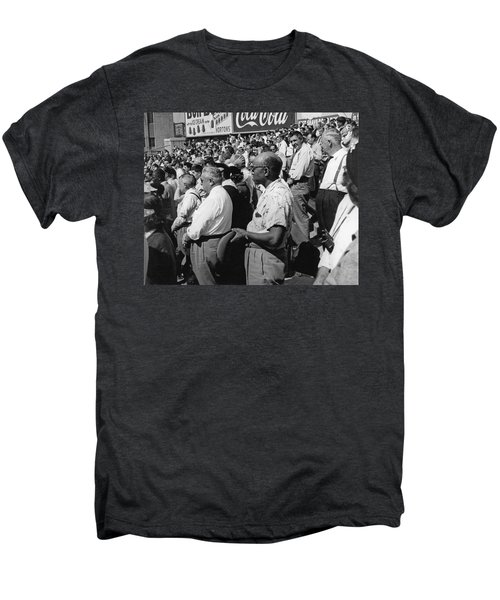 Fans At Yankee Stadium Stand For The National Anthem At The Star Men's Premium T-Shirt by Underwood Archives