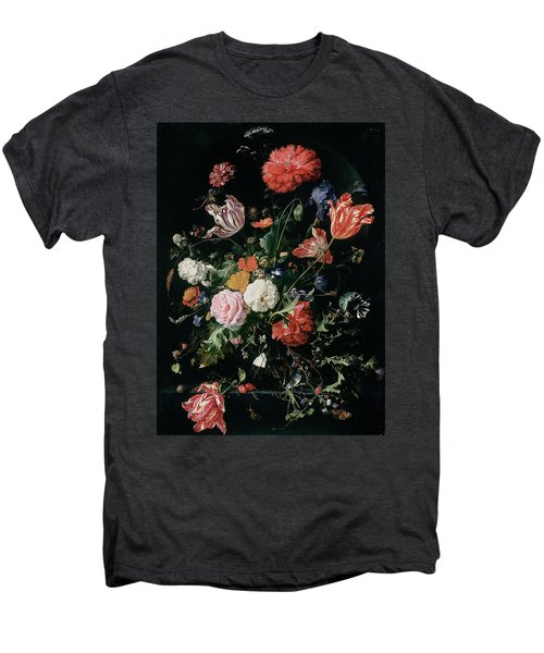Flowers In A Glass Vase, Circa 1660 Men's Premium T-Shirt