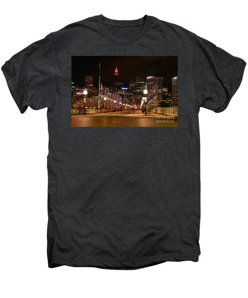Foot Bridge By Night Men's Premium T-Shirt by Kaye Menner