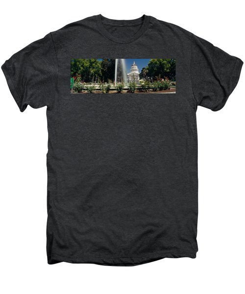 Fountain In A Garden In Front Men's Premium T-Shirt by Panoramic Images