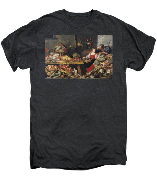 Fruit And Vegetable Market Oil On Canvas Men's Premium T-Shirt by Frans Snyders