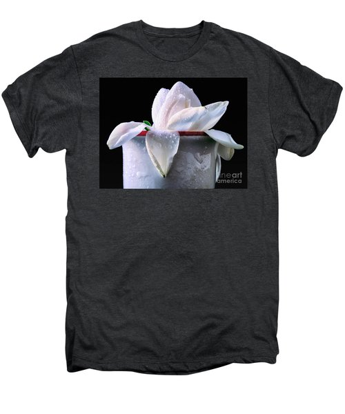 Men's Premium T-Shirt featuring the photograph Gardenia In Coffee Cup by Silvia Ganora
