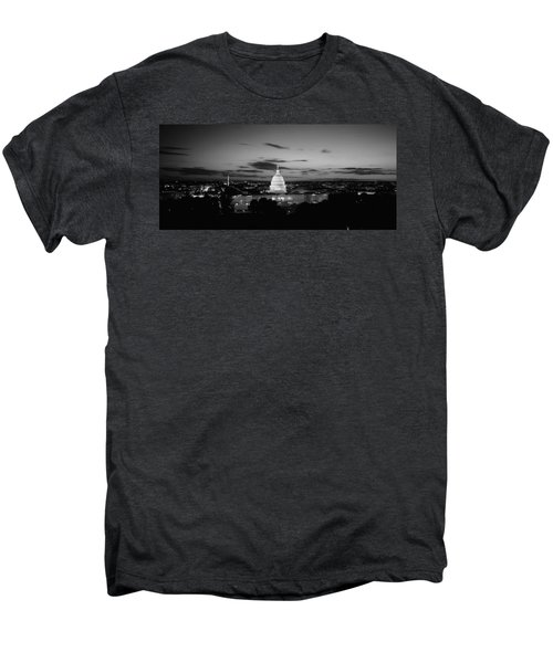 Government Building Lit Up At Night, Us Men's Premium T-Shirt by Panoramic Images