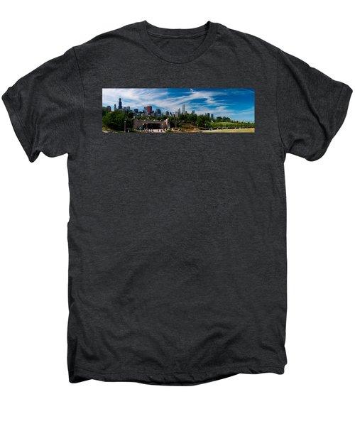 Grant Park Chicago Skyline Panoramic Men's Premium T-Shirt by Adam Romanowicz