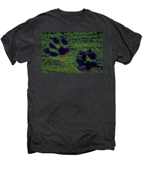 Green Glow Paw Prints Men's Premium T-Shirt