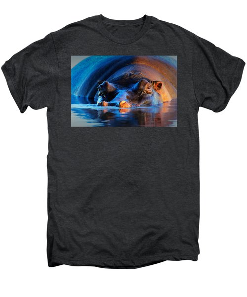 Hippopotamus  At Sunset Men's Premium T-Shirt