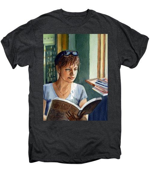Men's Premium T-Shirt featuring the painting In The Book Store by Irina Sztukowski