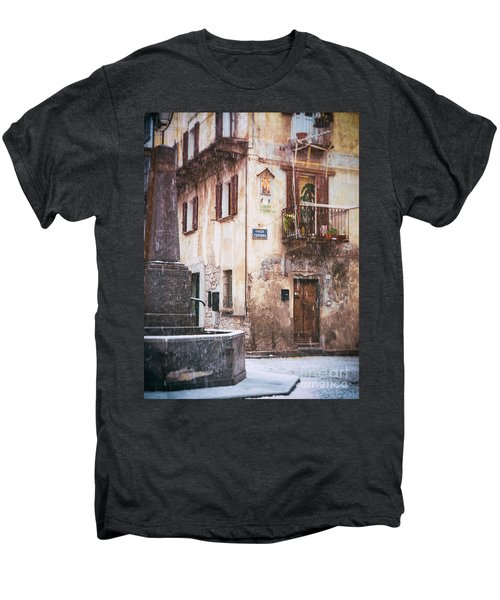 Men's Premium T-Shirt featuring the photograph Italian Square In  Snow by Silvia Ganora