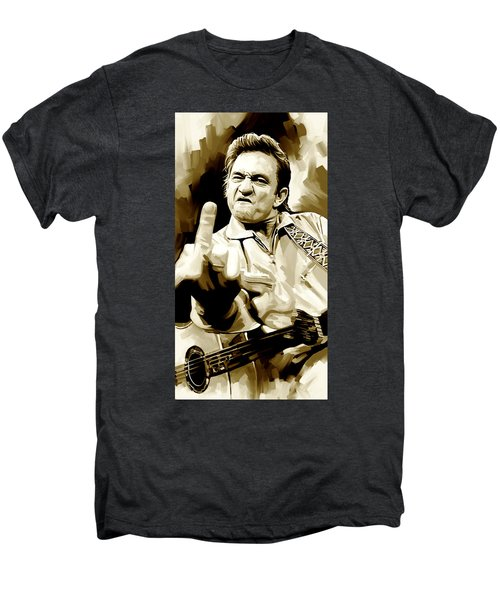 Johnny Cash Artwork 2 Men's Premium T-Shirt by Sheraz A