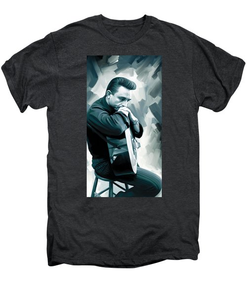 Johnny Cash Artwork 3 Men's Premium T-Shirt by Sheraz A
