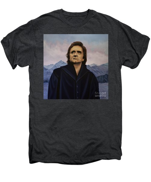 Johnny Cash Painting Men's Premium T-Shirt by Paul Meijering