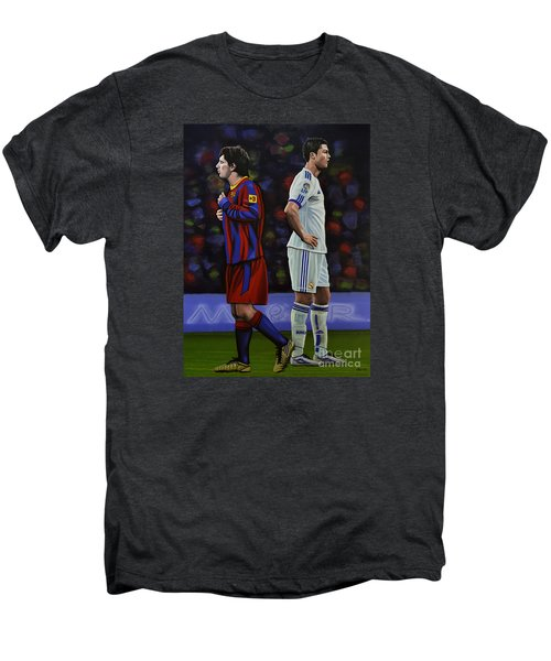 Lionel Messi And Cristiano Ronaldo Men's Premium T-Shirt by Paul Meijering