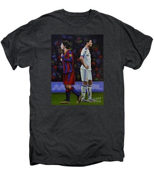 Lionel Messi And Cristiano Ronaldo Men's Premium T-Shirt by Paul Meijering