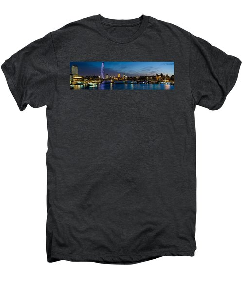London Eye And Central London Skyline Men's Premium T-Shirt by Panoramic Images