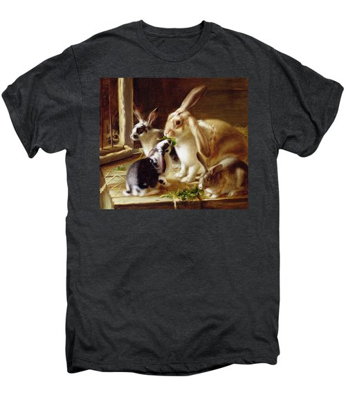 Long-eared Rabbits In A Cage Watched By A Cat Men's Premium T-Shirt