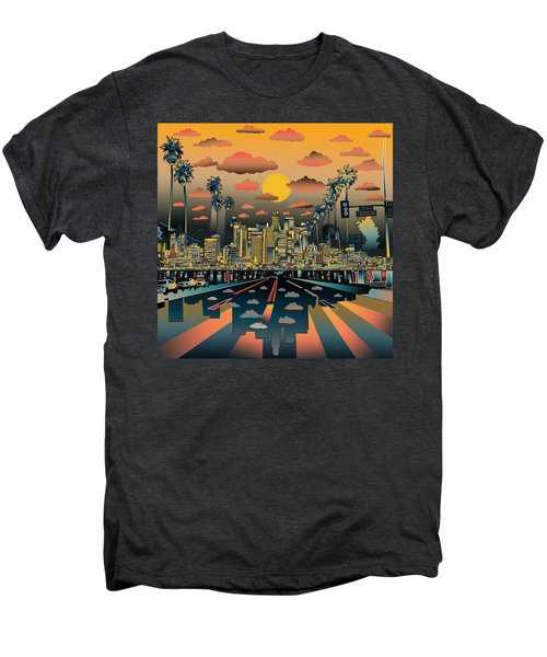 Los Angeles Skyline Abstract 2 Men's Premium T-Shirt by Bekim Art