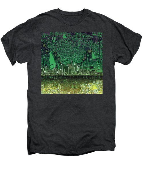 Los Angeles Skyline Abstract 6 Men's Premium T-Shirt by Bekim Art