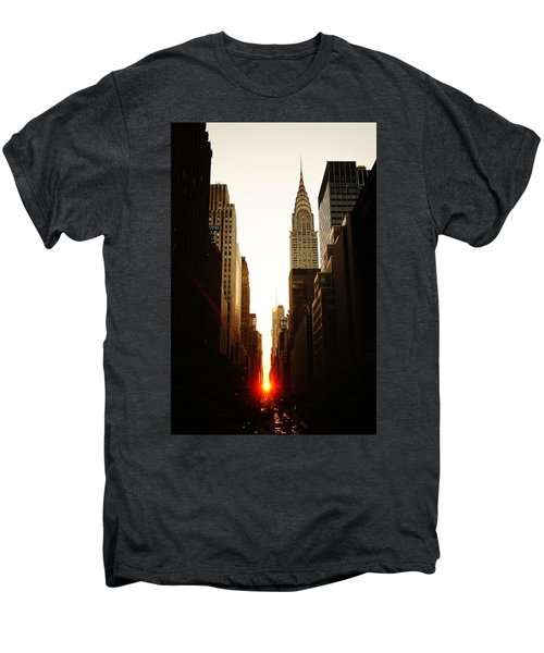 Manhattanhenge Sunset And The Chrysler Building  Men's Premium T-Shirt by Vivienne Gucwa