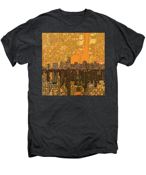 Miami Skyline Abstract 5 Men's Premium T-Shirt by Bekim Art