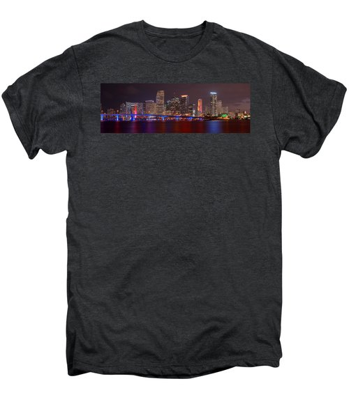 Miami Skyline At Night Panorama Color Men's Premium T-Shirt