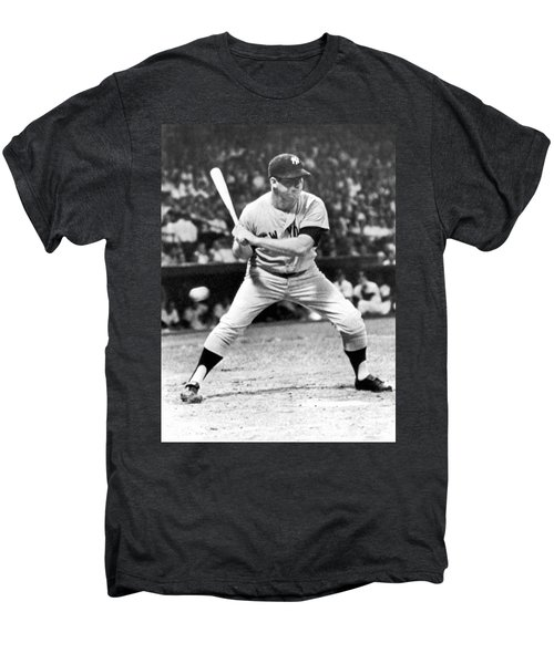 Mickey Mantle At Bat Men's Premium T-Shirt by Underwood Archives
