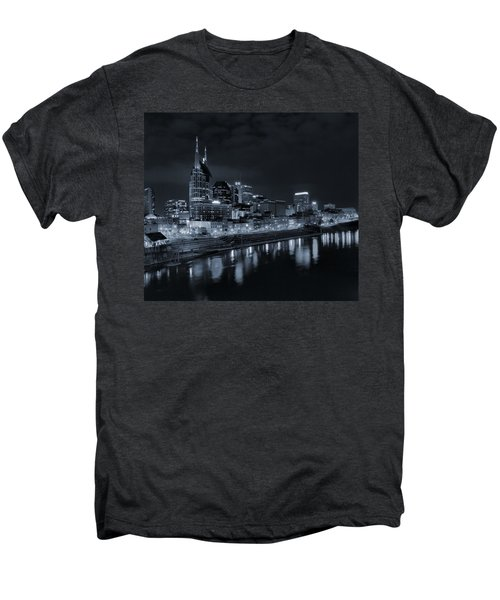 Nashville Skyline At Night Men's Premium T-Shirt by Dan Sproul