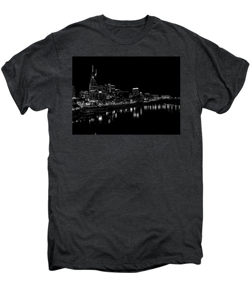 Nashville Skyline At Night In Black And White Men's Premium T-Shirt by Dan Sproul