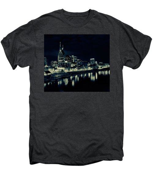 Nashville Skyline Reflected At Night Men's Premium T-Shirt by Dan Sproul