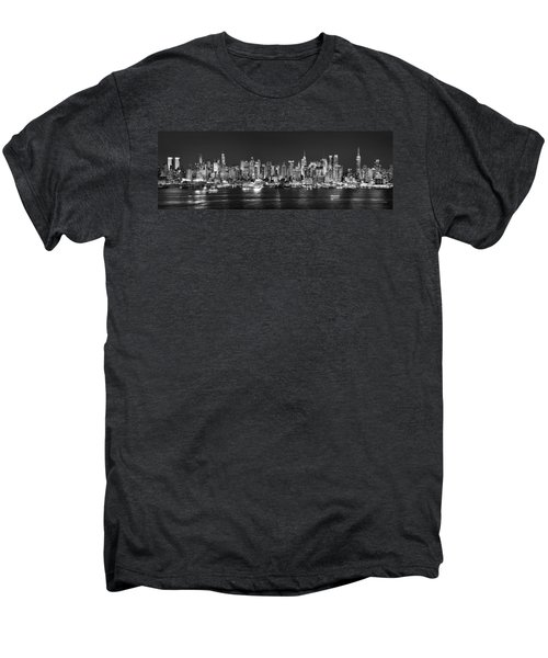 New York City Nyc Skyline Midtown Manhattan At Night Black And White Men's Premium T-Shirt by Jon Holiday